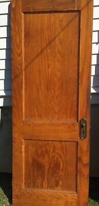 Antique Interior Two Panels Fir Wood Door Original Glass Door Knob Single Hinge