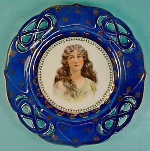 Antique Royal Vienna Style Porcelain Victorian Lady Portrait Plate