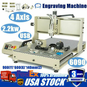 Usb 6090 Cnc Router Engraver Engraving Machine 4 Axis Metal Woodworking Cutting