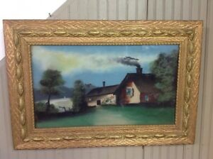 Vintage Antique Reverse Painted On Glass In Gold Guild Frame House Lake