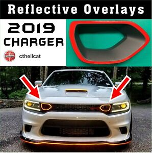 Reflective 2019 Dodge Charger Upper Grille Bezel Overlays Fits Prt 68417505ab