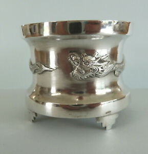 Chinese Solid Silver Dragon Open Salt 40g