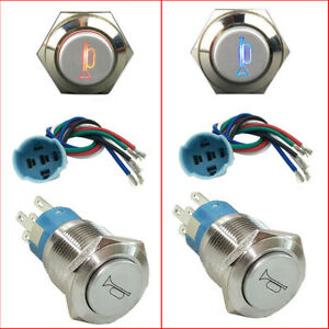 12v Socket Plug led Lighted Momentary Metal Push Button Air Horn Switch Car Boat