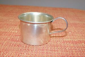 1 Sterling Silver Lullaby Miniature Baby Cup 1 Community Silver Plate Cup Vgc