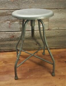 Vintage Metal Adjustable Doctors Dentist Stool Industrial Swivel Distressed