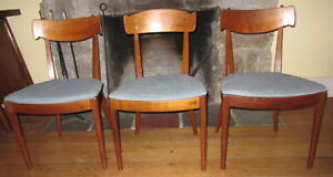 Mid Century Modern 3 Drexel Declaration Kipp Stewart Walnut Dining Side Chairs