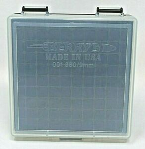 9 mm  380 - 100 round Ammo Case  Box CLEAR-BLACK Berry's MFG 9 mm