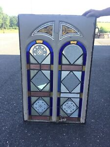 Antique Gothic Romanesque 19thc Stained Glass Window 45 2