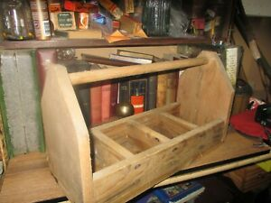 Primitive Wooden Tool Tote Tray Box Carrier Chest Caddy Carpenter Rustic Vintage