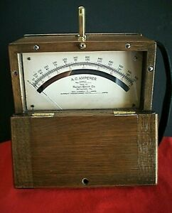 Antique 1925 Roller smith Ac Ammeter In Wood Case
