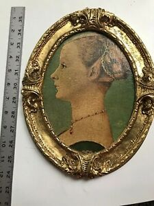 11 Vtg Florentine Portrait Faux Painting Wood Gold Layer Rococo Baroque Picture