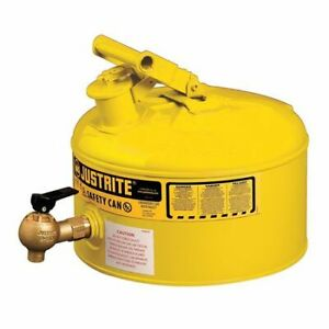 Justrite 7225240 2 1 2 Gal Yellow Galvanized Steel Type I Safety Can For