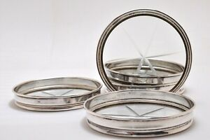 5 Pc Set Of 925 Sterling Silver Glass Coasters