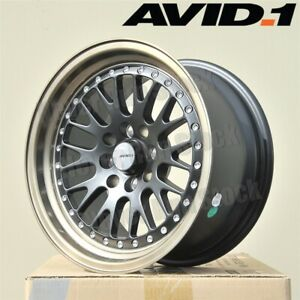 Avid 1 Av 12 15x8 4x100 25 Matte Black Mesh Bronze Lip Tuner 4 Wheels Set