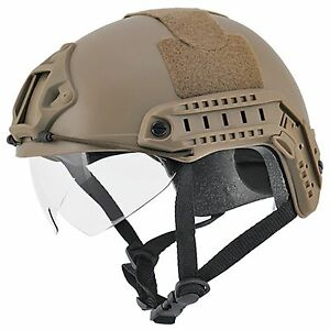 Lancer Tactical FAST Accessory Rails Hook-n-Loop Retractable Visor Helmet Tan