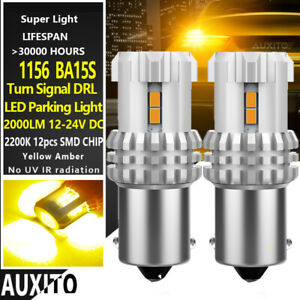Auxito 2 1156 7506 Ba15s P21w Led Turn Signal Light Amber Yellow 3020 Smd Bulb F