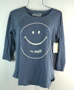 Lucky Brand Women's Coca Cola Smile Tee Size S in American Navy T-shirt Top