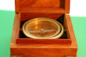Vintage Magnetic Maritime Compass In A Wooden Box