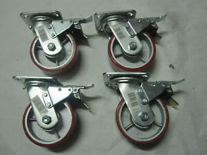 4 Red 5 X 2 Heavy Duty Wheel Swivel Brake Iron Hub Caster No Mark Non Skid