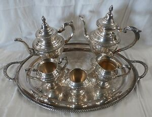 English Gadroon Sterling International Silver 5 Pc Tea Coffee Service