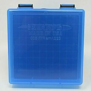 BERRY'S PLASTIC AMMO BOXES (5) BLUE 100 ROUND 223  5.56 - FREE SHIPPING
