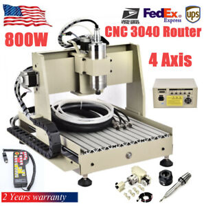 800w 4 Axis 3040 Cnc Router Engraver Machine Woodwork Drill Cutter Controller