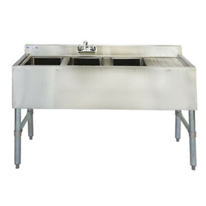 48 18 ga Ss304 3 Bowl Under Bar Sink With Drainboard And Faucet