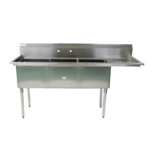 74 1 2 18 ga Ss304 Three Compartment Commercial Sink Right Drainboard