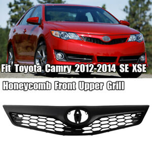 Fits 2012 2013 2014 Toyota Camry Se Xse Front Upper Grille Grill Matte Black