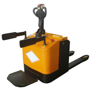 Electric Powered Rider Pallet Jack Truck 3300 Lb Cap 27 X 45 Fork