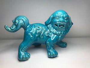 Foo Dog Awesome Turquoise Foo Dog Shishi Lion In Bedazzling Blue