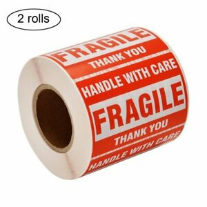 2 Rolls 2x3 500 roll Fragile Shipping Labels Handle With Care Thank You Stickers