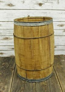 Antique Wood And Wire Barrel 100 Lb Nail Keg Wooden 5 Gallon Storage Photo Prop