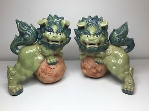 Green And Blue Foo Dogs Very Ornate Colorful Shishi Lions