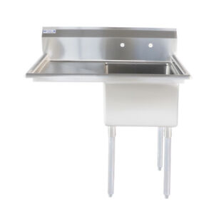 36 1 2 18 ga Ss304 One Compartment Commercial Sink Left Drainboard