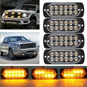 4pcs Car Amber 12 Led Emergency Strobe Beacon Warning Hazard Flashing Light Bar