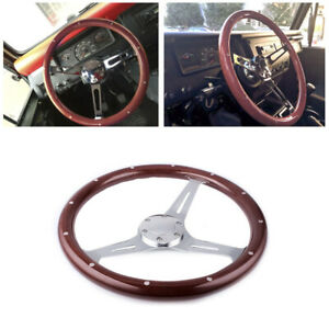 15 380mm Matte Silver Steering Wheel Dark Stained Wood Grip With Rivets Brown