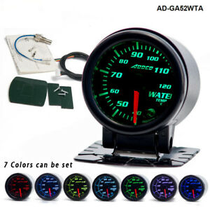 12v 52mm 7 Colors Led Water Temperature Temp Gauge Car Meter Accessories 1pc