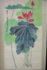 Very Large Old Chinese Hand Painting Beautiful Louts Flower Zhangdaqian Marks