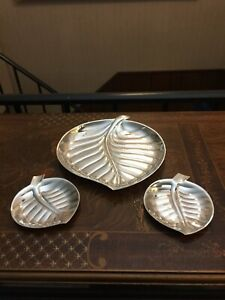 3 International Silver Co Silverplate Leaf Shape Trays Platters Set