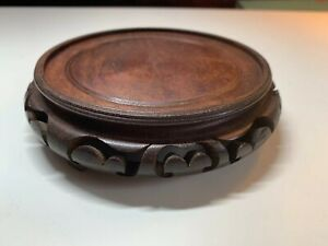 Antique Vintage Chinese Carved Hardwood Base Stand