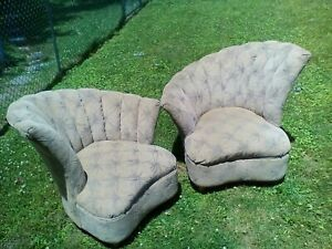 Pair Of Mid Century Modern Chairs French Italian Vintage Beige Unknown