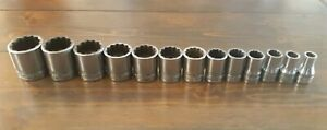 Snap On 13 Piece 1 2 Drive 12 Point Shallow Chrome Socket Set 3 8 1 3 16