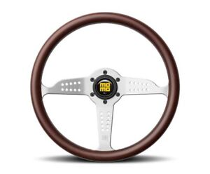 Momo Grand Prix Steering Wheel Mahogany Wood Silver Spoke Gra35wd0b us Dealer