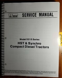 Deutz Allis 5215 Series Hst Synchro Diesel Tractor Service Manual 79010065 89