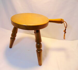 Vintage Primitive Wood 3 Leg Milking Stool Made In Japan With Handle