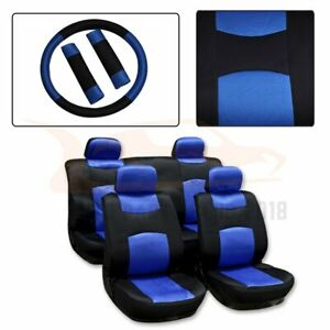 13 Pieces For 1999 2000 2006 Nissan Altima Black Blue Polyester Car Seat Covers