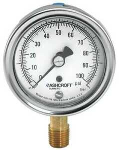 Ashcroft 351009aw02l100 Gauge pressure 304 Ss 3 1 2 In