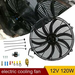 16 Inch Universal Slim Fan Push Pull Electric Radiator Cooling 12v Mount Kit En