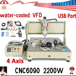 2 2kw Vfd 4 Axis Usb Cnc 6090 Router Engraving Machine Spindle Motor Mill Cutter